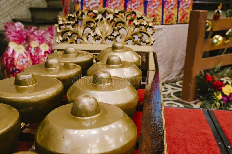 Maleis traditioneel muziekinstrument genoemd Gamelan stock afbeeldingen
