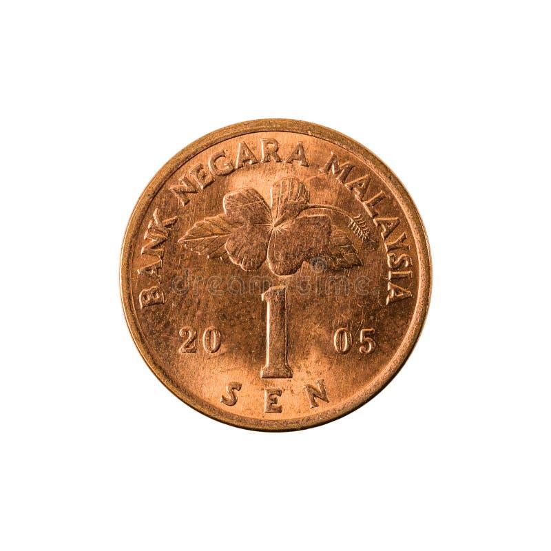 1 Maleise die sen-muntstuk 2005 obvers op witte achtergrond worden geïsoleerd royalty-vrije stock afbeeldingen