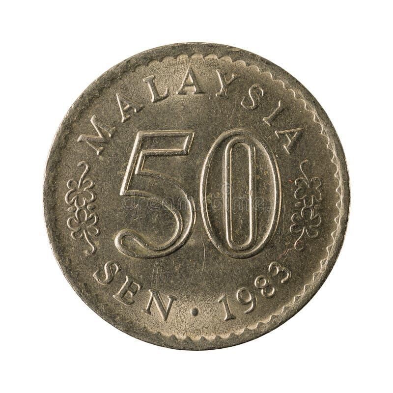 50 Maleise sen muntstuk 1983 obvers royalty-vrije stock afbeelding
