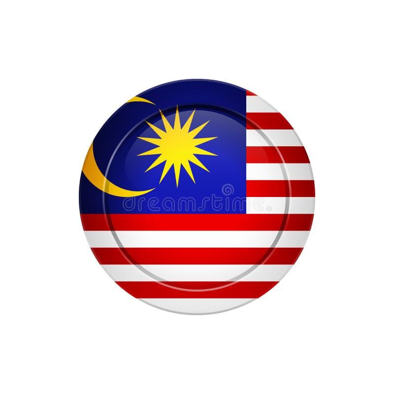 Maleise vlag op de ronde knoop, illustratie royalty-vrije illustratie