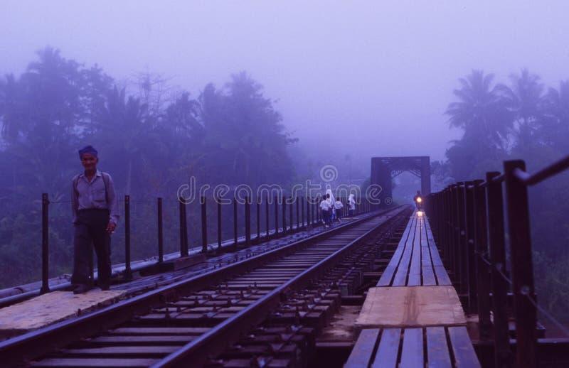 Maleisië: Een treinbrug over een rivier in het Nationale Park van Taman Negara stock foto