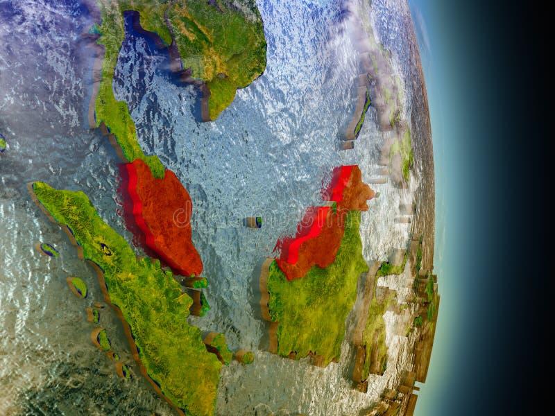Maleisië in rood van ruimte royalty-vrije illustratie
