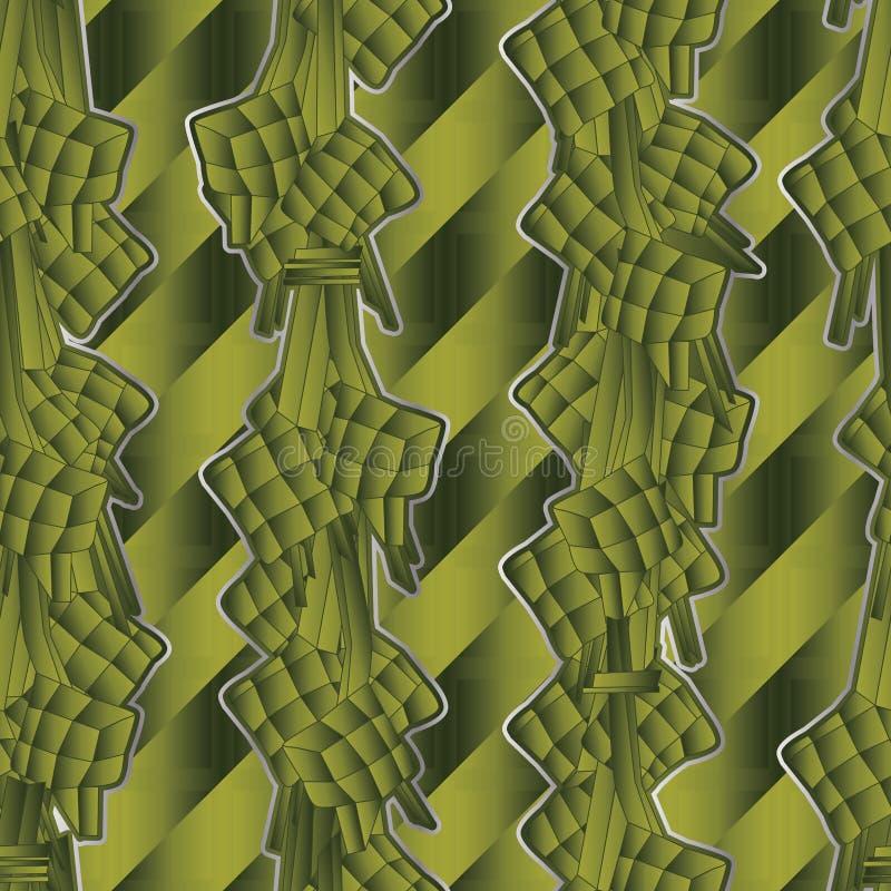 Maleisisch voedsel verticaal groen naadloos patroon vector illustratie