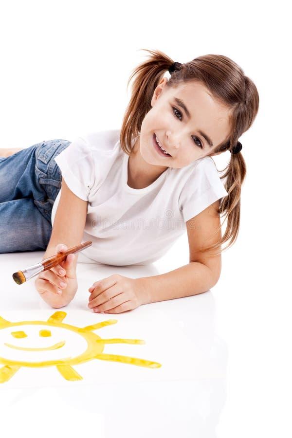 Malen einer glücklichen Sonne stockfotografie
