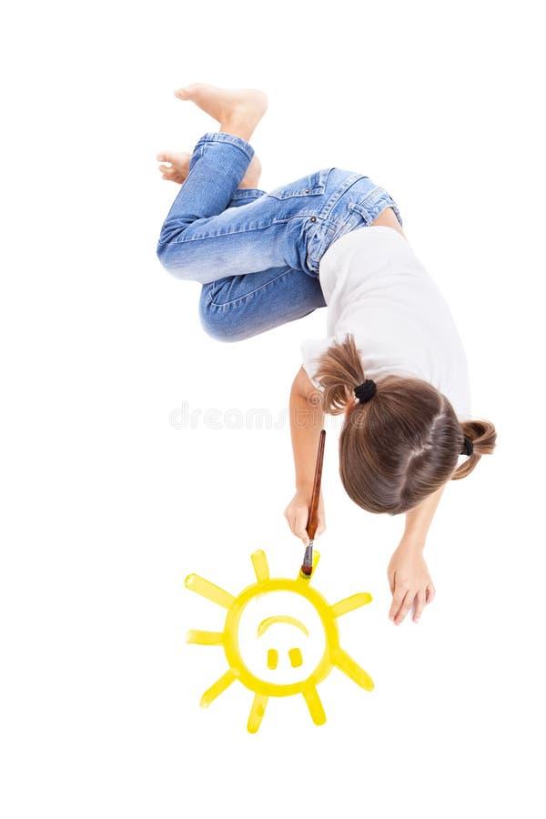 Malen einer glücklichen Sonne lizenzfreies stockfoto