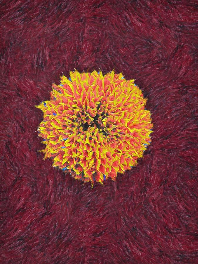 Malen einer Ringelblumenblume im Stil des postimpressionistischen Malers Vincent van Gogh lizenzfreie abbildung
