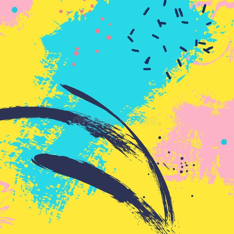 Malen Sie blauen gelben Bürstenanschlag Vektor-Rosaneonhintergrund der Mode blauer abstrakter Aquarell splater Farbschmutz vektor abbildung