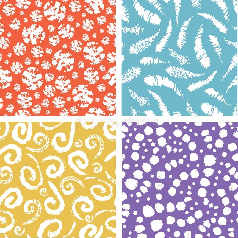 Malen Sie buntes nahtloses Muster der Beschaffenheitselemente stock abbildung