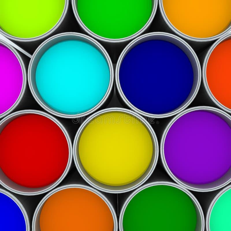 Malen Sie Dosenfarbpalette, lizenzfreie stockfotografie