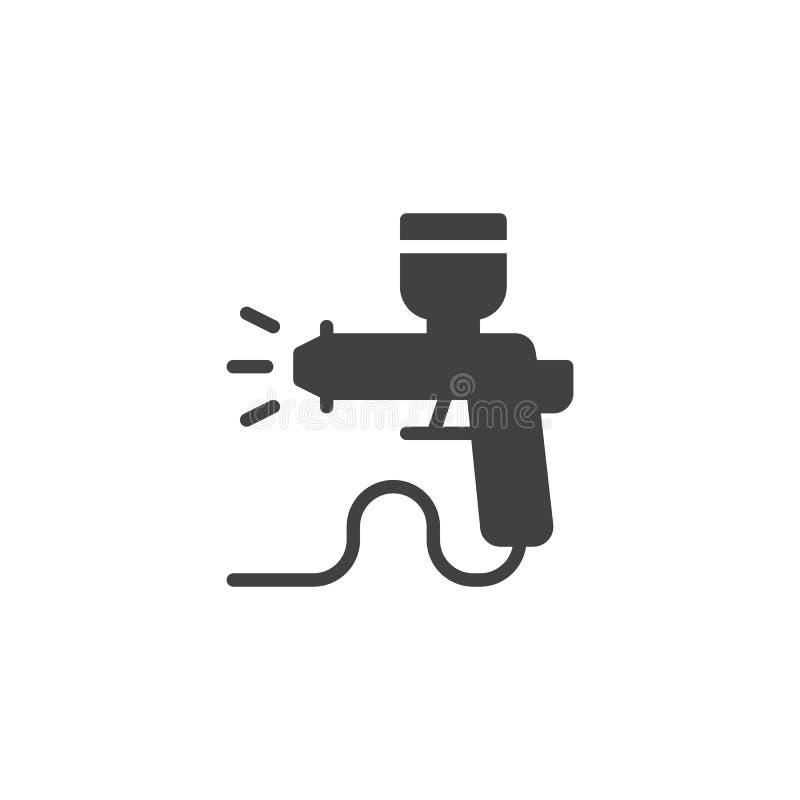 Malen Sie Farbspritzpistole-Vektorikone stock abbildung