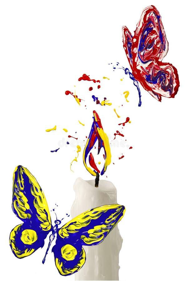 Malen Sie Flamme auf der Kerze und dem roten gelben blauen Schmetterling a fliegend vektor abbildung