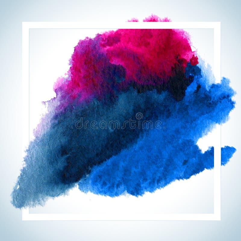 Malen Sie Fleck-Karten-Raster-Design Aquarellanschlag-Plakatschablone simsen fot Beschriftung oder inspirierend Sprechen lizenzfreie abbildung