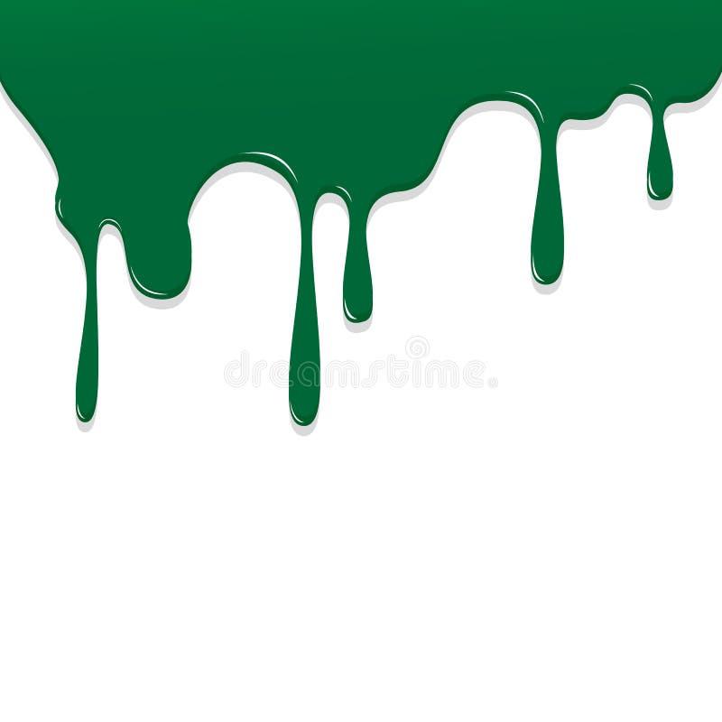 Malen Sie grüne Farb-Bratenfett, Farbe-Droping-Hintergrund-Vektorillustration lizenzfreie abbildung