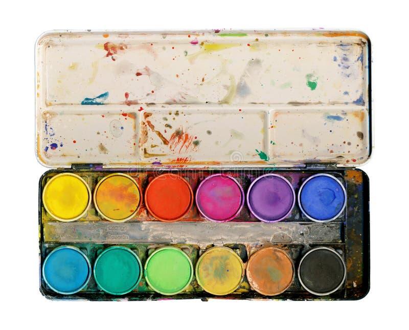 Malen Sie Palette getrennt auf weißem Hintergrund stockfoto