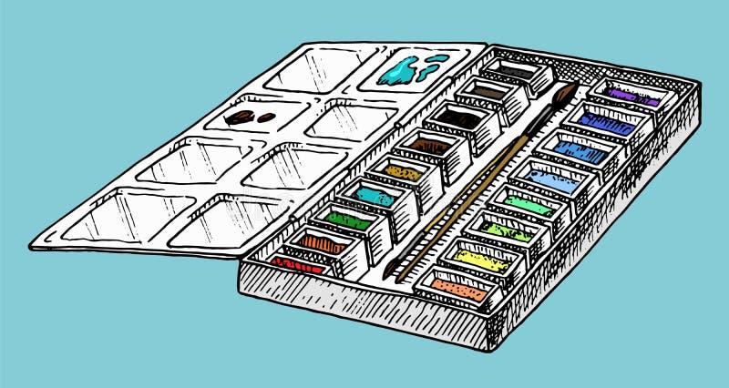 Malen Sie Palette Werkzeuge und Materialien des K?nstlers f?r das Zeichnen in den Kunstsalon Kreative Leute des Handwerks gravier stock abbildung