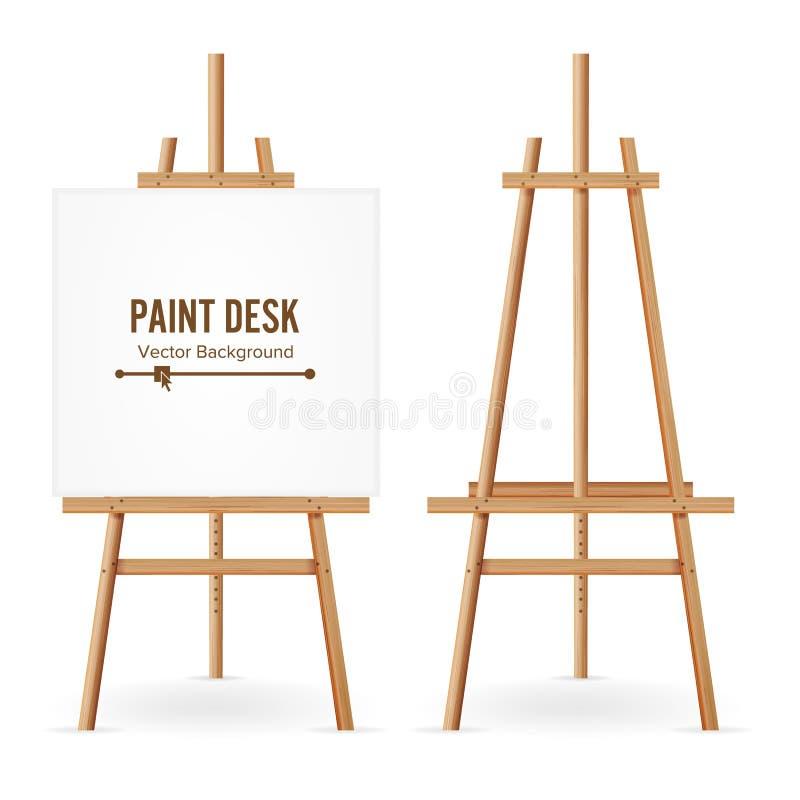Malen Sie Schreibtisch-Vektor Hölzerne Gestell-Schablone mit Weißbuch Getrennt auf weißem Hintergrund Realistischer Maler Desk Se vektor abbildung