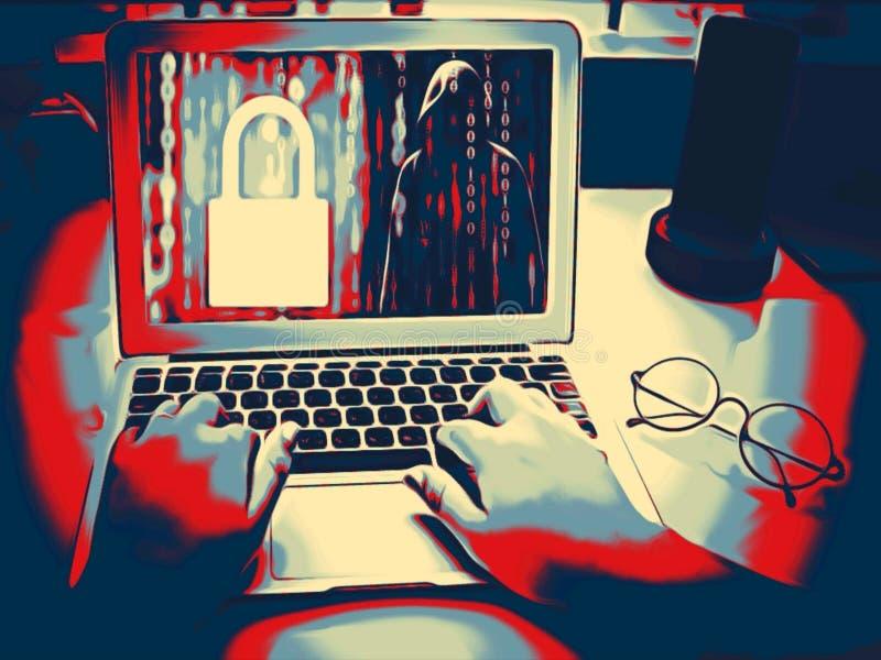 Malen Sie Skizze im Gefahrenkonzept der roten schwarzen Farbe Der anonyme Hacker, der den Code schreibt, versucht, das System zu  lizenzfreie stockfotos