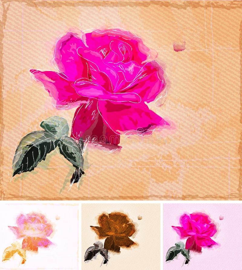 Malen von einer Rose. stock abbildung