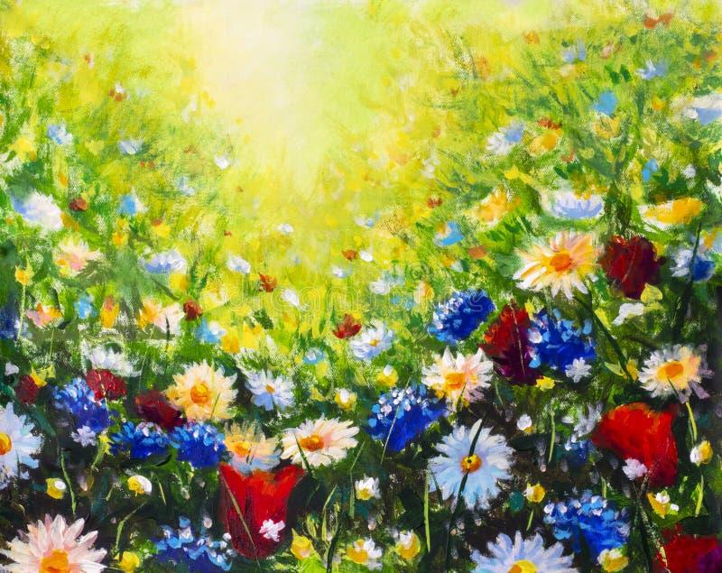 malende moderne bunte wilde Blumen der Blume lizenzfreie stockfotos