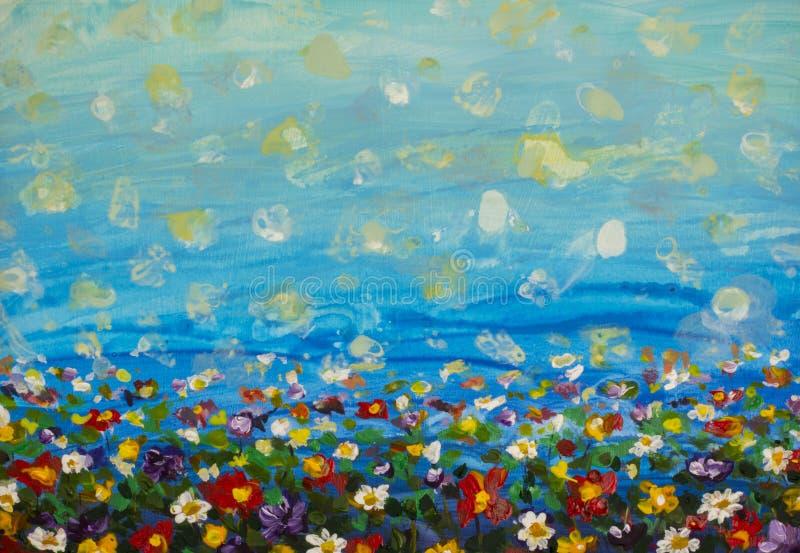 malende purpurrote Kosmosblume, weißes Gänseblümchen, Kornblume, Wildflower Blüht Wiese, Grünfeldmalereien Handgemaltes Blumen un stockfoto