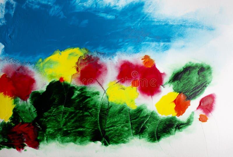 Malender blauer Blumenhimmel der abstrakten Acrylwildflowers Landschafts lizenzfreie abbildung