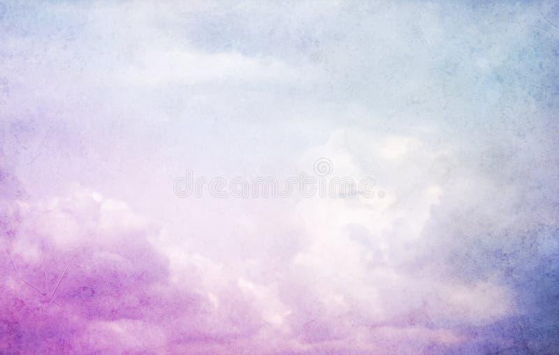Malender Himmel des Hintergrundes des abstrakten Aquarells ebenso mit Wolken in der D?mmerung stockfotografie