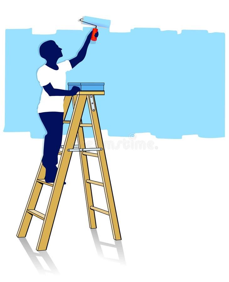 Maler auf Strichleiter stock abbildung
