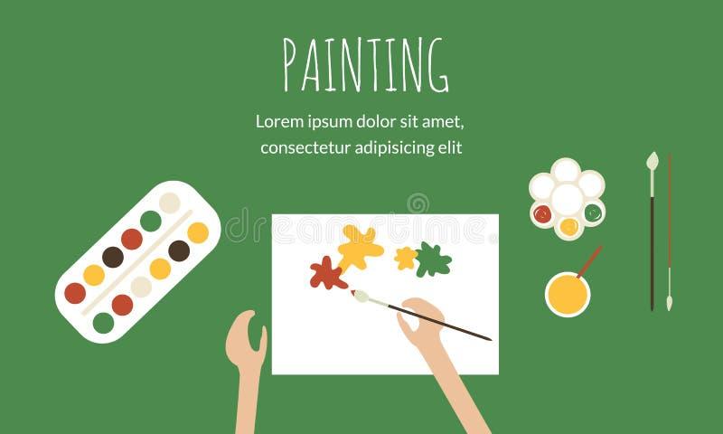 Maler bei der Arbeit lizenzfreie abbildung