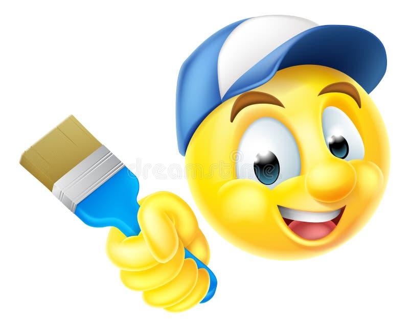 Maler Emoji Emoticon mit Malerpinsel vektor abbildung