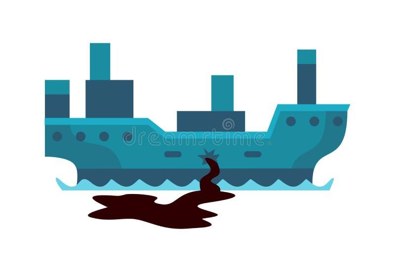 Maler miljö- olje- förorening för ekologiska problem av förstörelse för skogsavverkning för vattenjordluft av djur fabriker vektor illustrationer