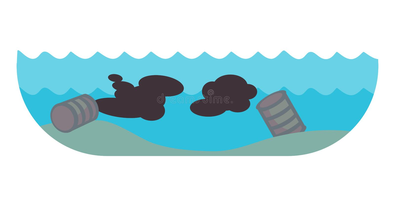 Maler miljö- olje- förorening för ekologiska problem av förstörelse för skogsavverkning för vattenjordluft av djur fabriker royaltyfri illustrationer