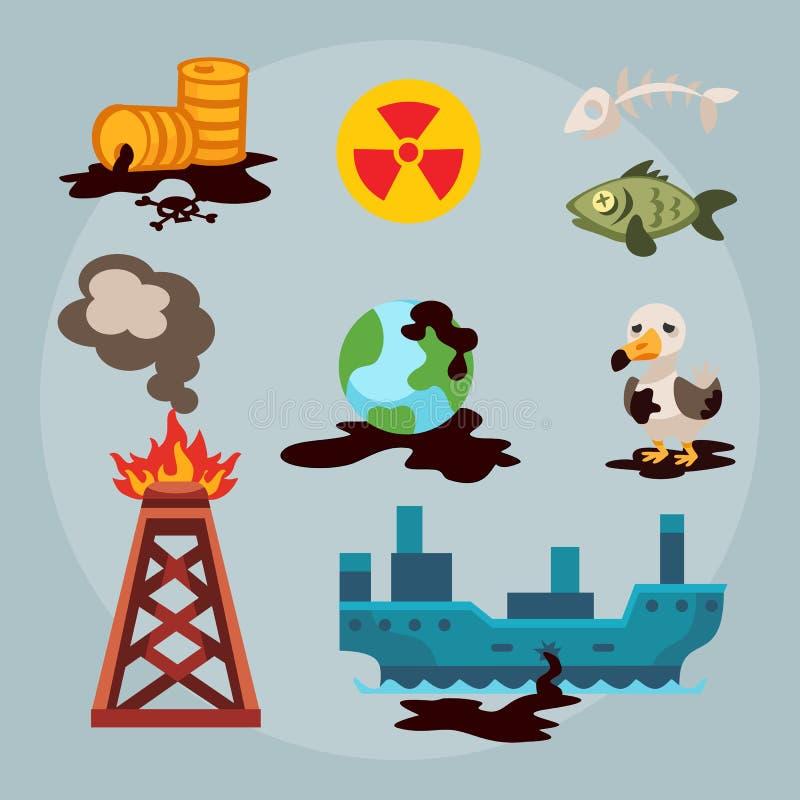Maler miljö- olje- förorening för ekologiska problem av förstörelse för skogsavverkning för vattenjordluft av djur fabriker stock illustrationer