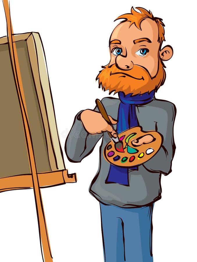 Maler mit Bürste und Palette vektor abbildung