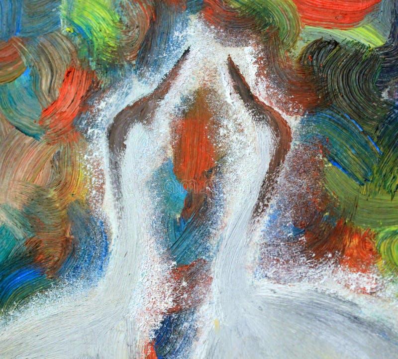 Malerei, Ölgemälde, verschiedene Farben des Hintergrundes, Kräne, Vogelkopf stock abbildung