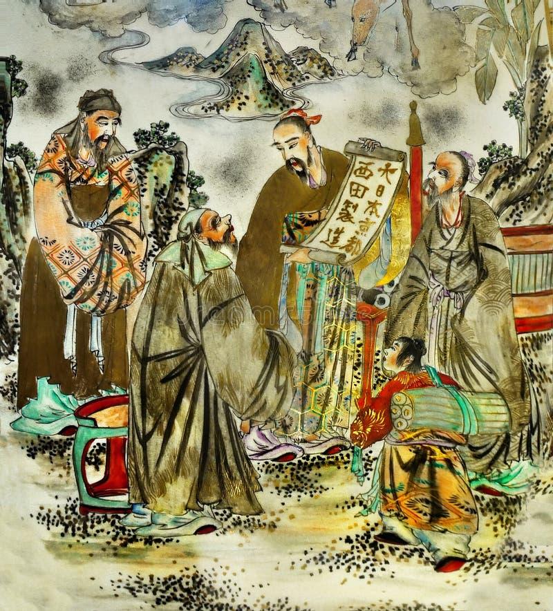 Malerei-antikes chinesisches Motiv stockfotos