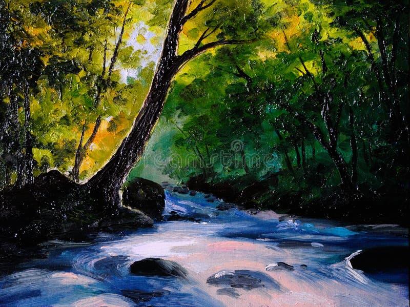 Malerei, Bildölgemälde auf einem Segeltuch Landschaft, Gebirgsfluss lizenzfreie abbildung