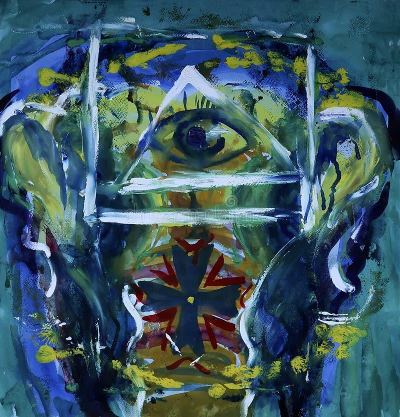 Malerei der abstrakten Kunst des Elefanten lizenzfreie abbildung