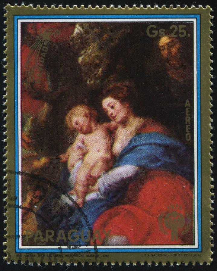 Malerei der Geburt Christi und des Madonnas und des Kindes durch Rubens lizenzfreie stockbilder