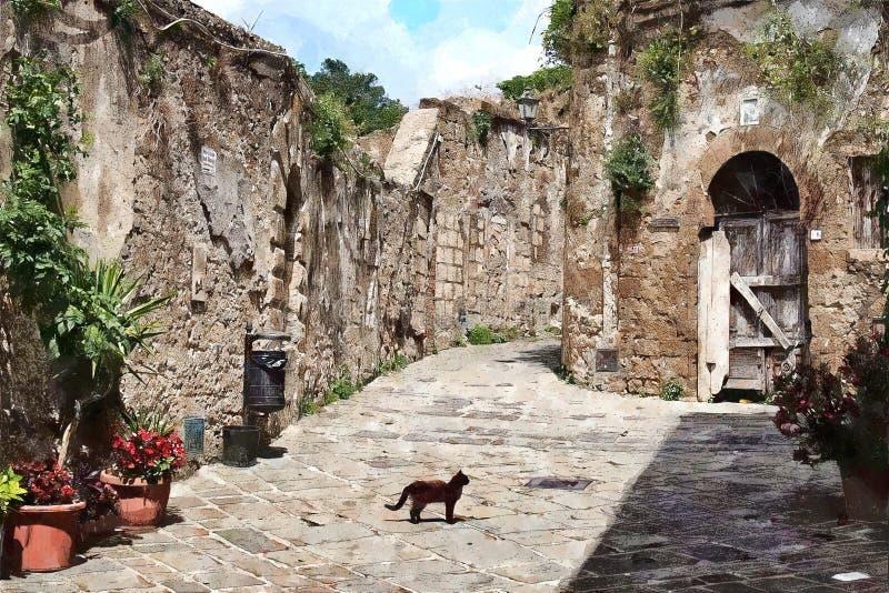 Malerei der Katze in der romantischen Straße in Toskana lizenzfreies stockbild