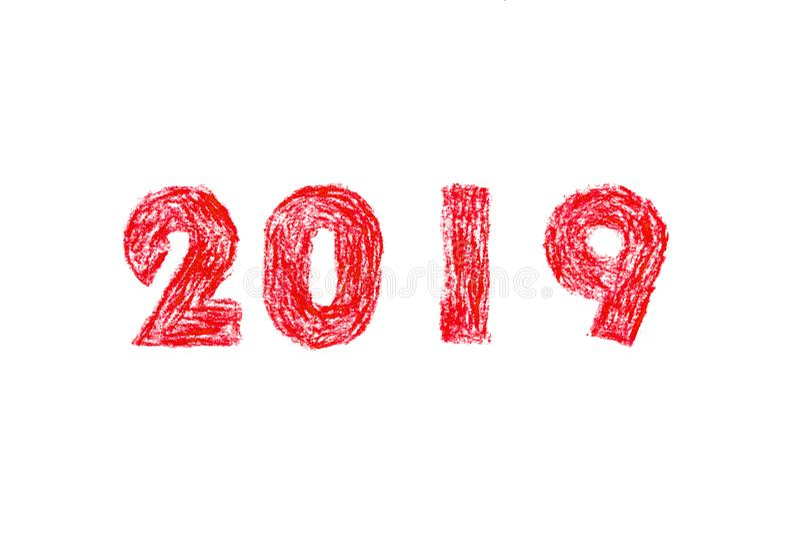 Malerei des neuen Jahres 2019 Hand stock abbildung