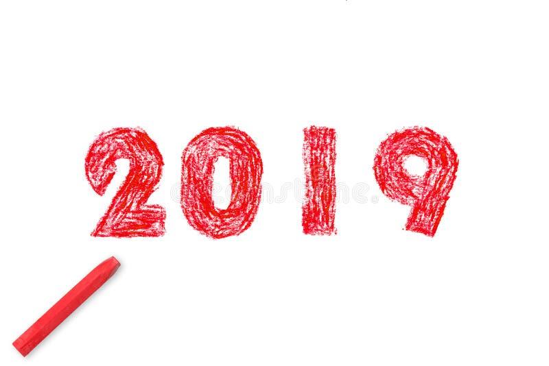 Malerei des neuen Jahres 2019 Handund Pastellölfarbe stock abbildung