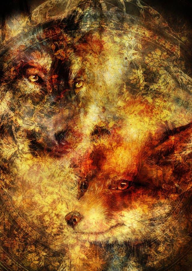 Malerei des wilden Fuchses und des Wolfs Dekorativer Hintergrund lizenzfreies stockbild