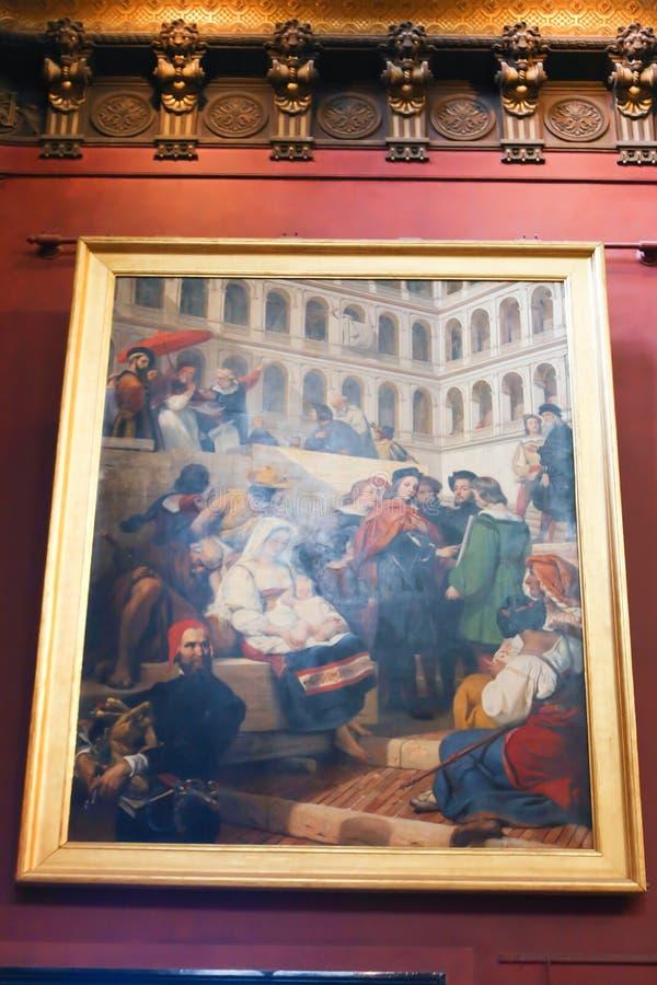 Malerei im Louvremuseum lizenzfreies stockfoto
