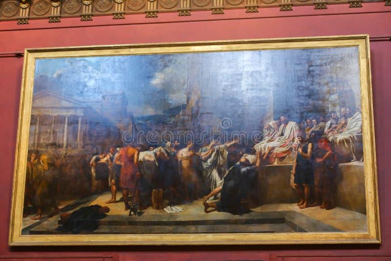 Malerei im Louvremuseum lizenzfreie stockfotos