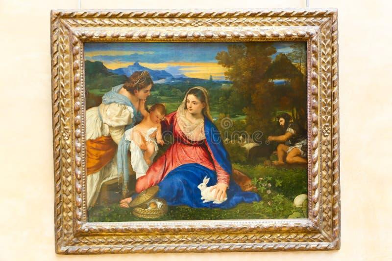 Malerei im Louvremuseum lizenzfreie stockbilder