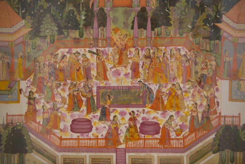 Malerei im Mehrangarh-Fort von Jodhpur lizenzfreies stockfoto