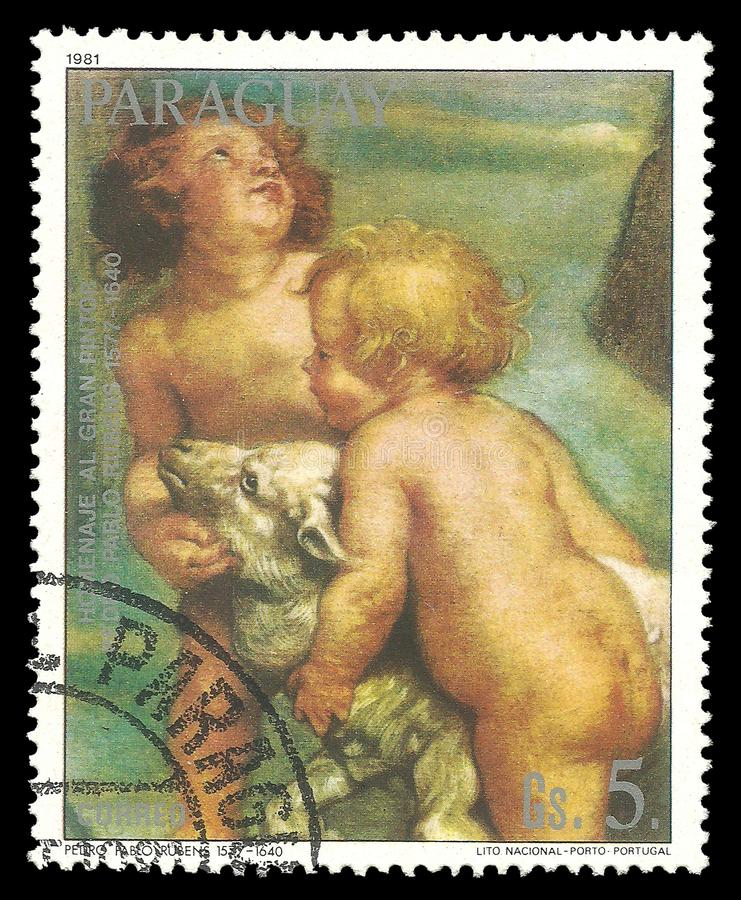 Malerei-Paare von Kindern durch Rubens stockfotos