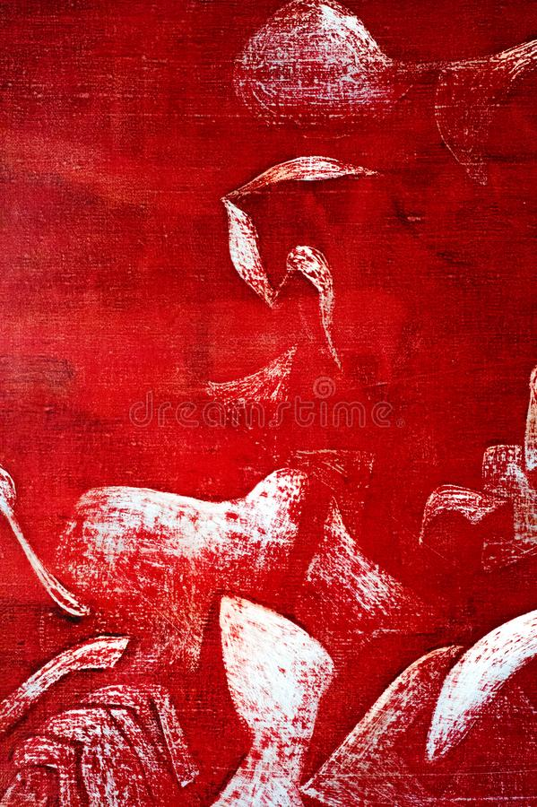 Malerei, Segeltuch, Ölfarben Abstraktes Muster auf einem roten backgrou stockfotos