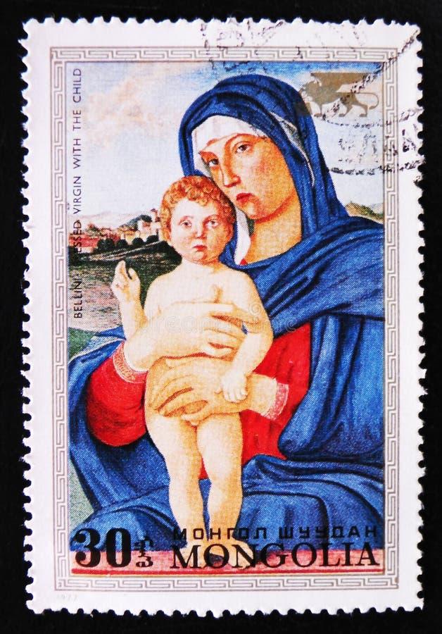 Malerei ` segnete Jungfrau mit dem Kind-` durch Bellini, circa 1972 lizenzfreie stockfotos