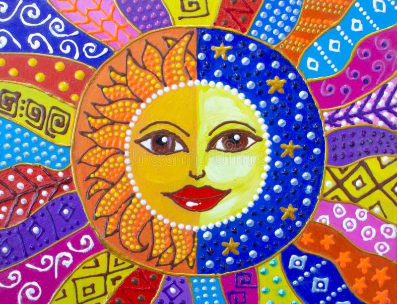 Malerei, Sonne und Mond Schöne Muster Helle Farben stockbilder
